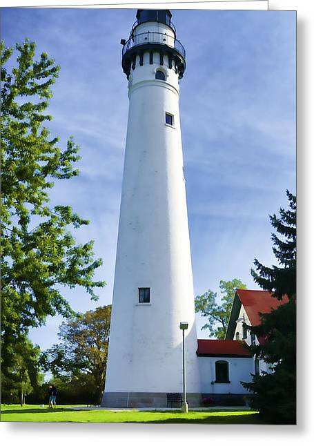 Usa Photographs Greeting Cards - Wind Point Lighthouse Greeting Card by Joan Carroll