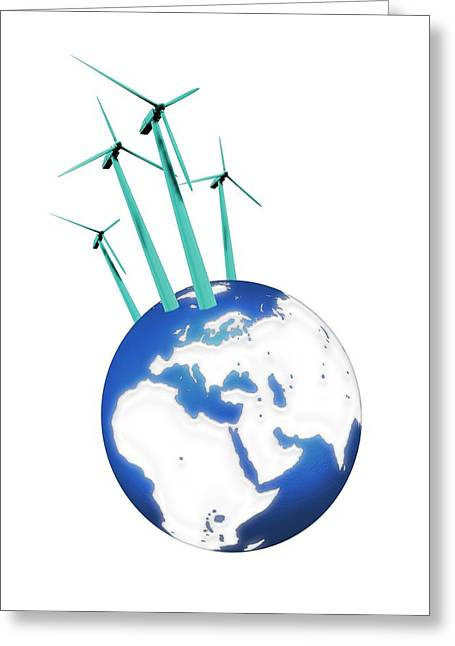 Industrial Concept Greeting Cards - Wind Power, Artwork Greeting Card by Victor Habbick Visions