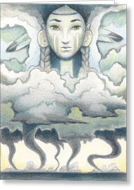 Aceo Drawings Greeting Cards - Wind Spirit Dances Greeting Card by Amy S Turner