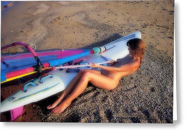 Wind Surfing Art Greeting Cards - Wind surf Greeting Card by Manolis Tsantakis