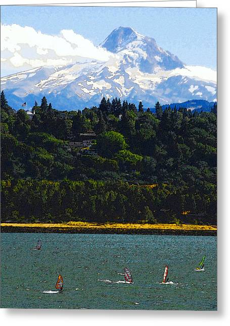 Northwestern Us Greeting Cards - Wind Surfing Mt. Hood Greeting Card by David Lee Thompson