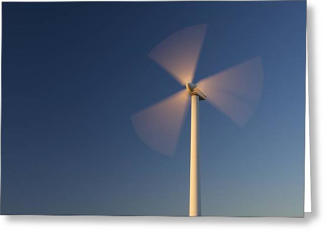 Rotate Greeting Cards - Wind Turbine Rotating Greeting Card by Jeremy Walker