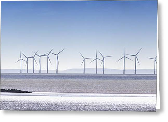 Ocean Images Greeting Cards - Wind Turbines Along The Coast Solway Greeting Card by John Short
