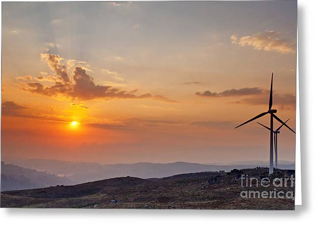 Rotation Greeting Cards - Wind Turbines at Sunset Greeting Card by Andre Goncalves