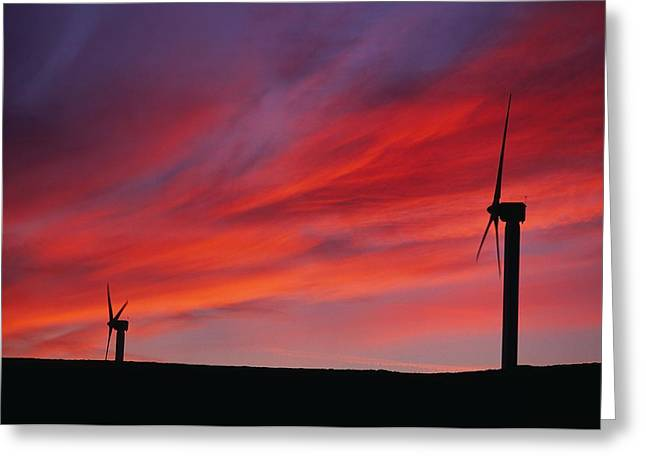 Energy Efficiency Greeting Cards - Wind Turbines Greeting Card by Chris Knapton
