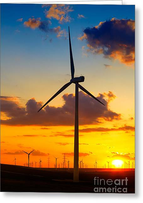 Climate Change Greeting Cards - Wind turbines Greeting Card by Gabriela Insuratelu