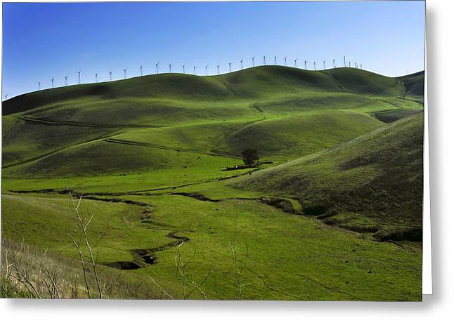 Livermore Greeting Cards - Wind Turbines Line A Mountain Ridge Greeting Card by Amy White & Al Petteway