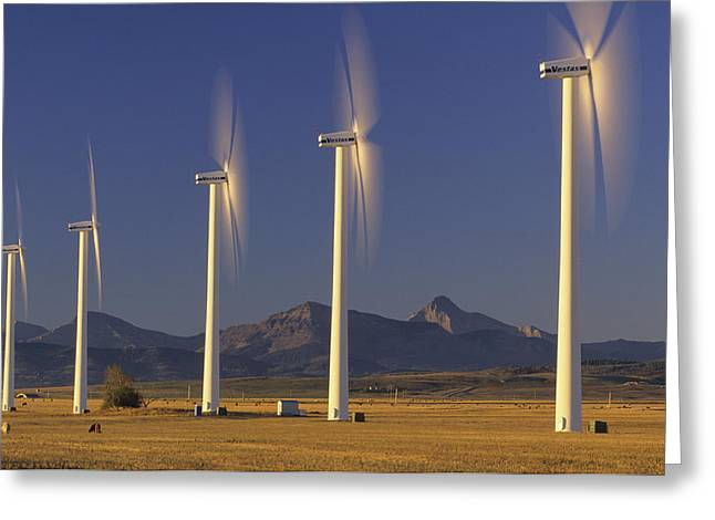 Pinchers Greeting Cards - Wind Turbines, Pincher Creek, Alberta Greeting Card by John Sylvester