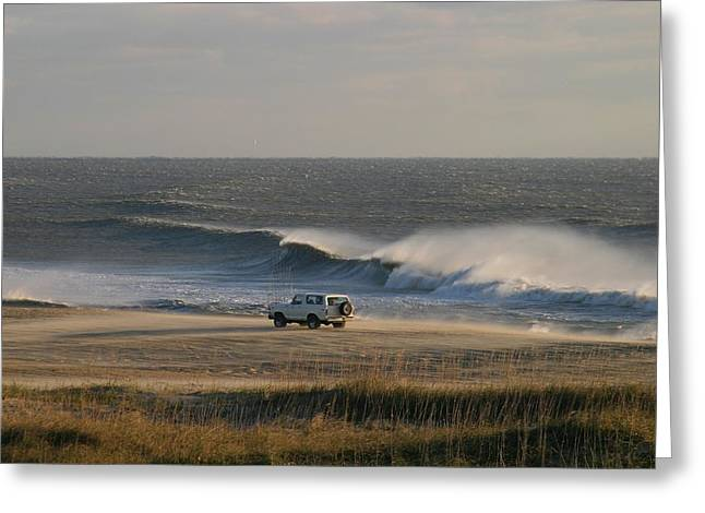 Wind, Waves And Fisherman In An Suv Greeting Card by Skip Brown