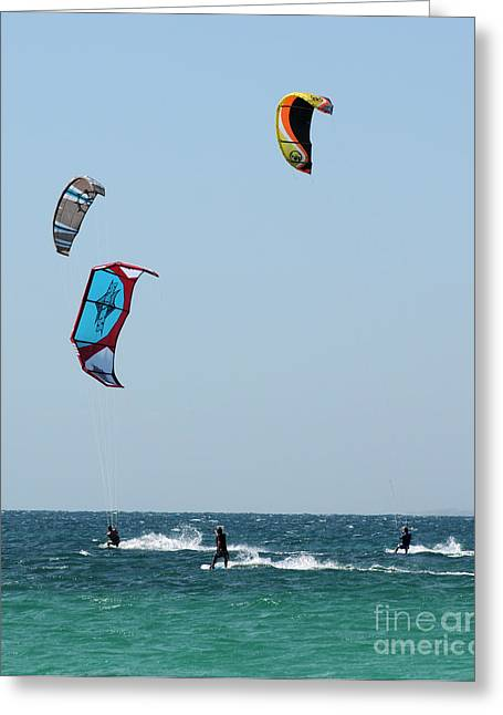 Kite Surfing Greeting Cards - Wind Worshippers Greeting Card by Vivian Christopher