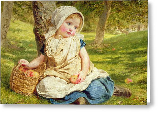 Baby Girl Greeting Cards - Windfalls Greeting Card by Sophie Anderson