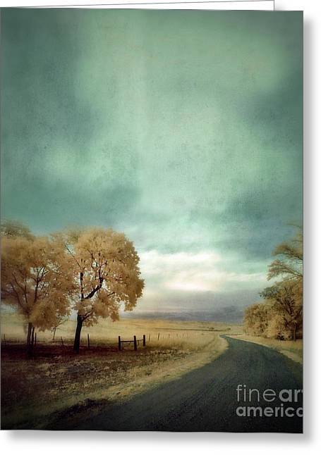 Country Dirt Roads Greeting Cards - Winding Country Road in Infrared Greeting Card by Jill Battaglia