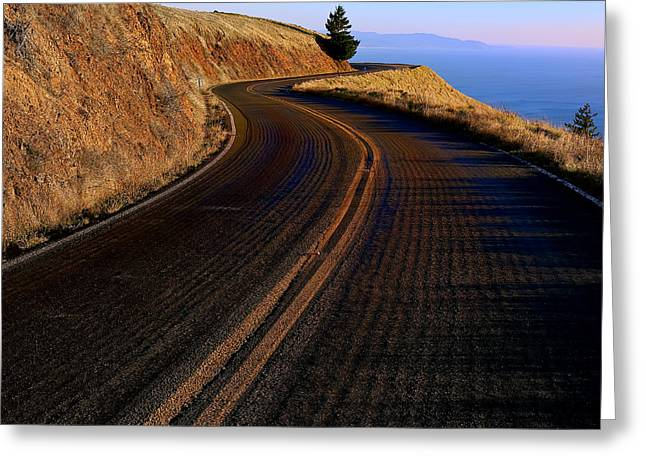 Yellow Line Photographs Greeting Cards - Winding road Greeting Card by Garry Gay