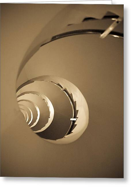 Winding Staircases Greeting Cards - Winding Staircase, Katakolon, Greece Greeting Card by Keith Levit