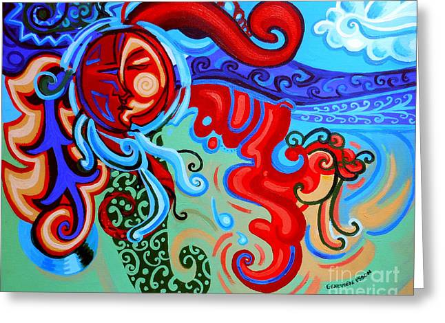 Acrylic On Stretched Canvas Greeting Cards - Winding Sun Greeting Card by Genevieve Esson