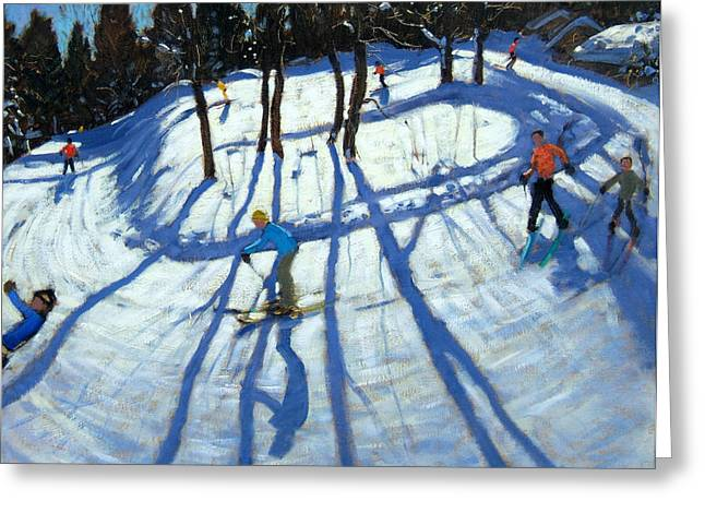 Skier Greeting Cards - Winding Trail Morzine Greeting Card by Andrew Macara