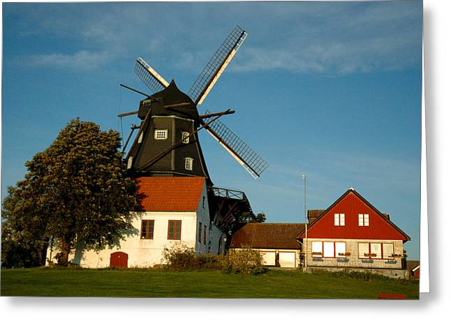 Malmo Digital Art Greeting Cards - Windmill - Sweden Greeting Card by Joshua Benk