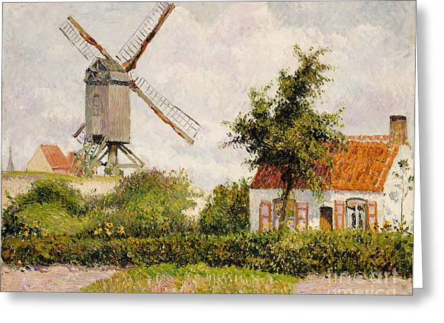 Flour Greeting Cards - Windmill at Knokke Greeting Card by Camille Pissarro