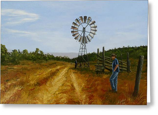 Windmill At Mandagery Greeting Card by Anne Gardner