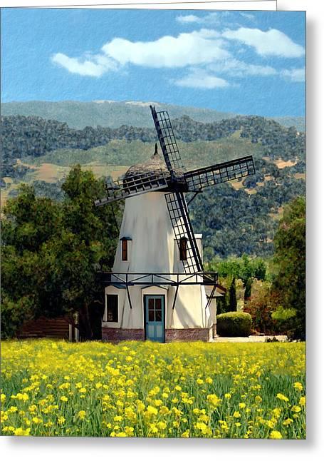 Windmill At Mission Meadows Solvang Greeting Card by Kurt Van Wagner