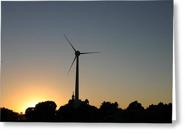Generators Greeting Cards - Windmill At Sunset Greeting Card by Kim French