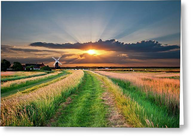 Marsh Path Greeting Cards - Windmill At Sunset Greeting Card by Meirion Matthias
