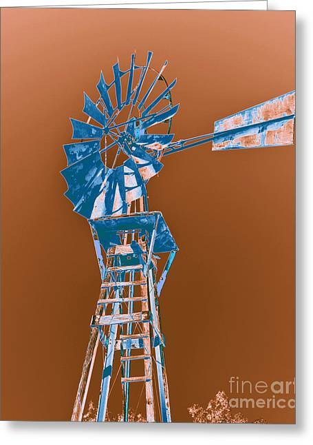 Rotation Greeting Cards - Windmill blue Greeting Card by Rebecca Margraf