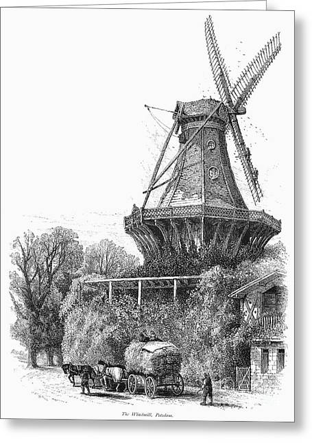 Horse Driven Wagon Greeting Cards - WINDMILL, c1870 Greeting Card by Granger