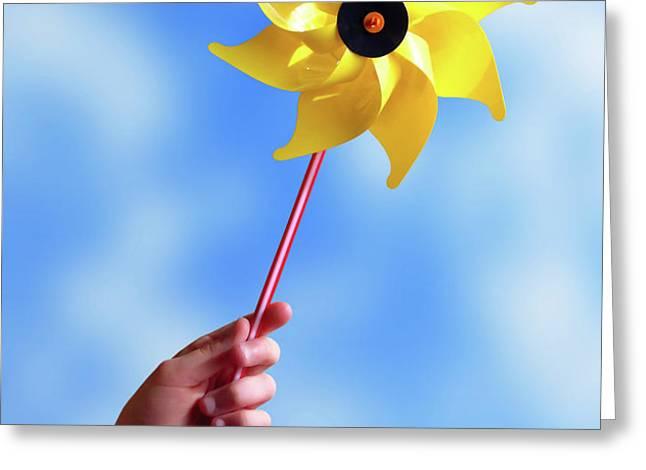 Windmill Greeting Card by Carlos Caetano
