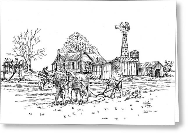 Outbuildings Drawings Greeting Cards - Windmill Greeting Card by Charles Sims