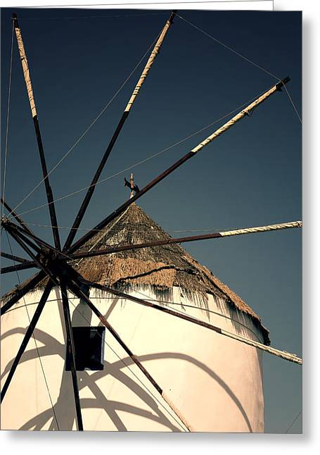 Mills Greeting Cards - windmill Greece Greeting Card by Joana Kruse