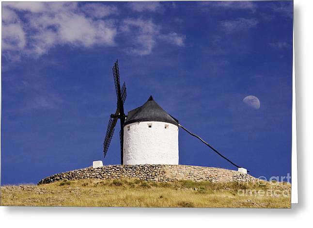 Consuegra Greeting Cards - Windmill on Hilltop with Gibbous Moon Greeting Card by Jeremy Woodhouse
