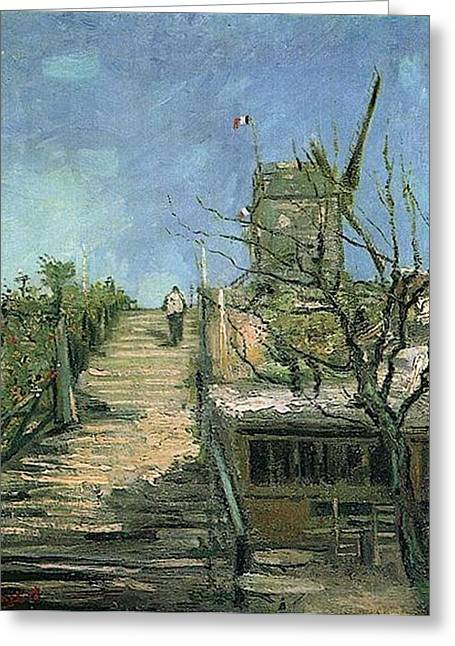 Van Gogh Influence Greeting Cards - Windmill on Montmartre Greeting Card by Vincent Van Gogh