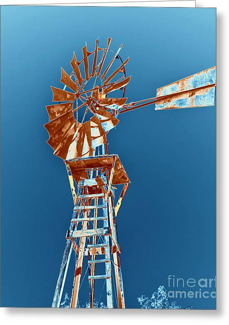 Rotation Greeting Cards - Windmill Rust orange with blue sky Greeting Card by Rebecca Margraf