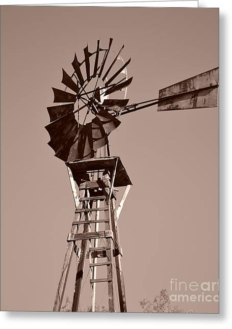 Rotation Greeting Cards - Windmill Sepia Greeting Card by Rebecca Margraf