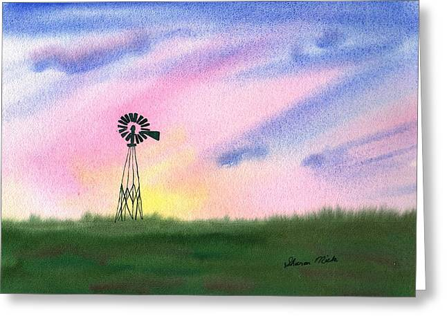 Rotate Paintings Greeting Cards - Windmill Greeting Card by Sharon Mick