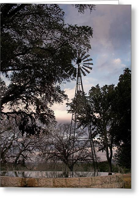 Black White Photography Prints Greeting Cards - Windmill with Water  Greeting Card by Karen Musick