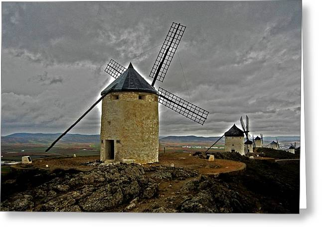 Castile La Mancha Greeting Cards - Windmills - Consuegra Greeting Card by Juergen Weiss