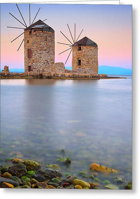 Windmills  Greeting Card by Emmanuel Panagiotakis