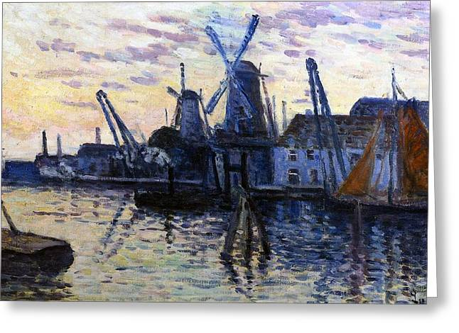 Boats Reflecting In Water Greeting Cards - Windmills in Holland Greeting Card by Maximilien Luce