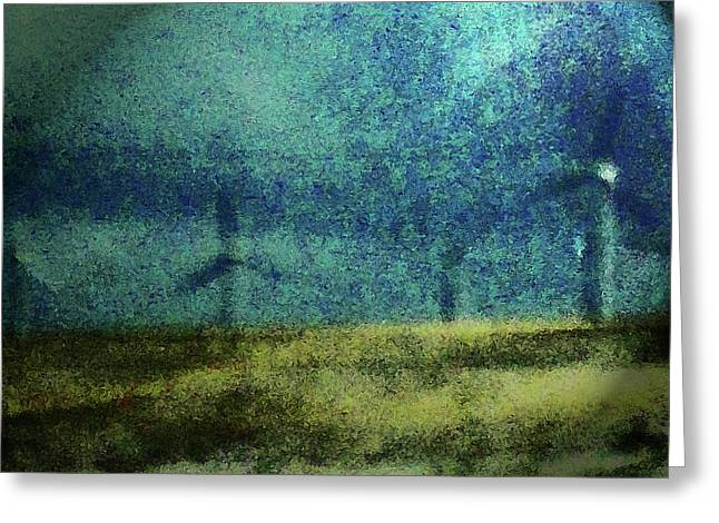 Reverence Greeting Cards - Windmills in Moonlight Greeting Card by Lenore Senior