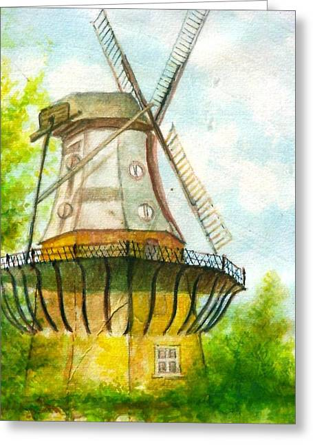 Ilustration Greeting Cards - Windmuehle Greeting Card by Klaus Rach