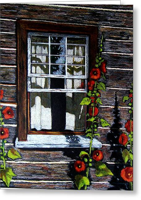 Old Cabins Drawings Greeting Cards - Window at Upper Canada Village Greeting Card by Joyce Geleynse