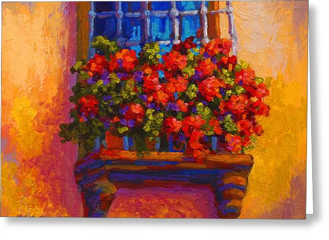 Vineyards Paintings Greeting Cards - Window Box  Greeting Card by Marion Rose