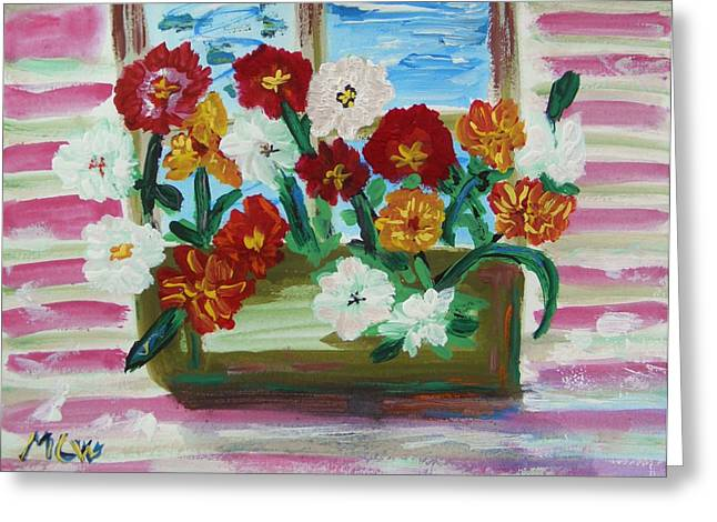 Flower Boxes Drawings Greeting Cards - Window Box on a Pink House Greeting Card by Mary Carol Williams