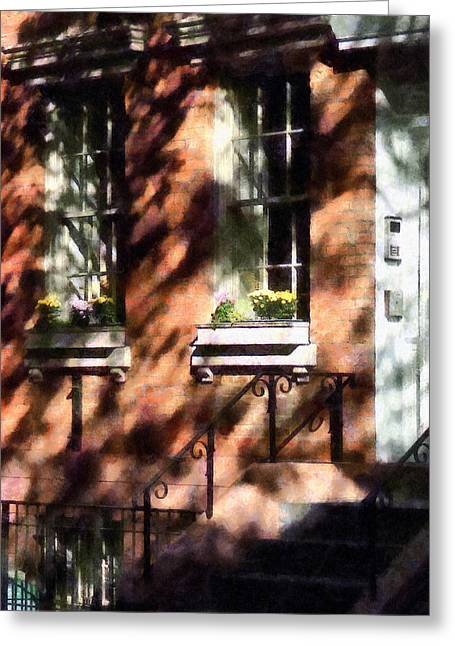 Window Boxes Greenwich Village Greeting Card by Susan Savad