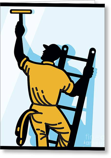 Window Cleaner Worker Cleaning Ladder Retro Greeting Card by Aloysius Patrimonio