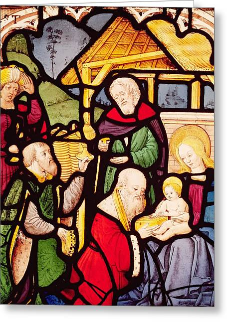 Magi Greeting Cards - Window depicting the Adoration of the Magi Greeting Card by French School
