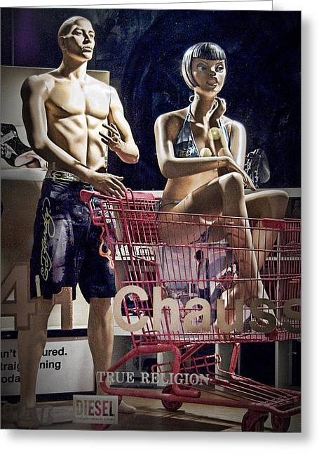 Shopping Cart Greeting Cards - Window Display with Mannequins and shopping cart Greeting Card by Randall Nyhof