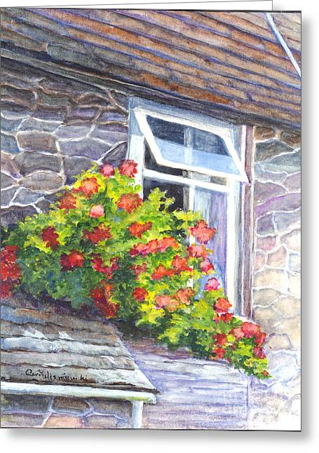 Trellis Drawings Greeting Cards - Window Garden Greeting Card by Carol Wisniewski